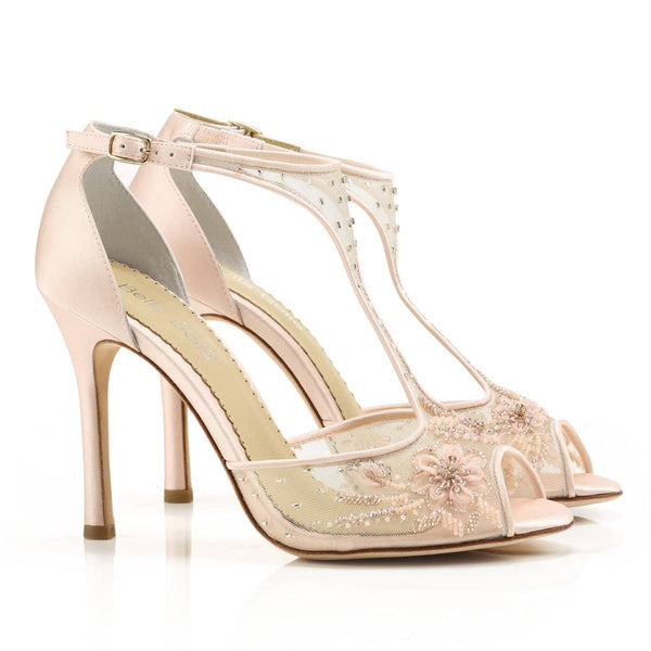 embroidered illusion heels crystal embellished comfortable wedding shoes