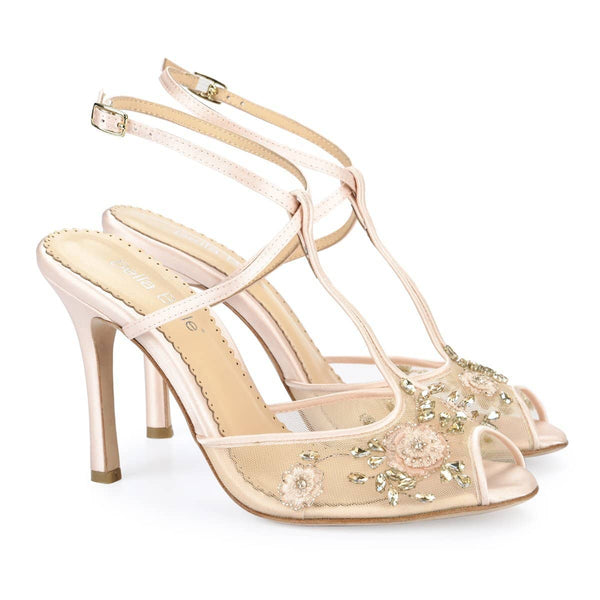 Bella Belle Alexa Blush T-Strap Wedding Heels
