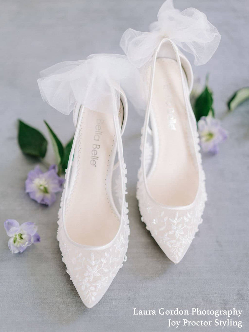 Floral Beaded Lace Wedding Kitten Heel with Tulle Bow - Esther Ivory Bella Belle