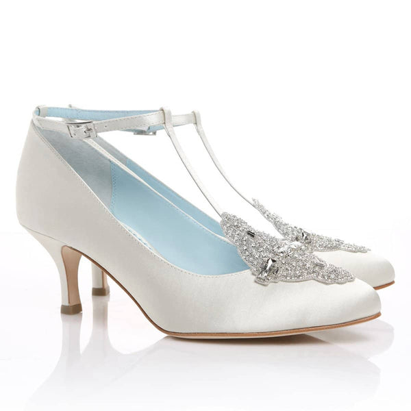 comfortable white wedding shoe low heel vintage inspired crystal embellished silk satin kitten something blue