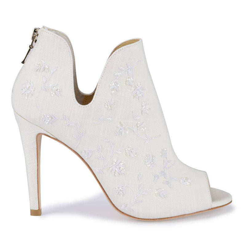Bella Belle Peony White Embroidered Wedding Booties