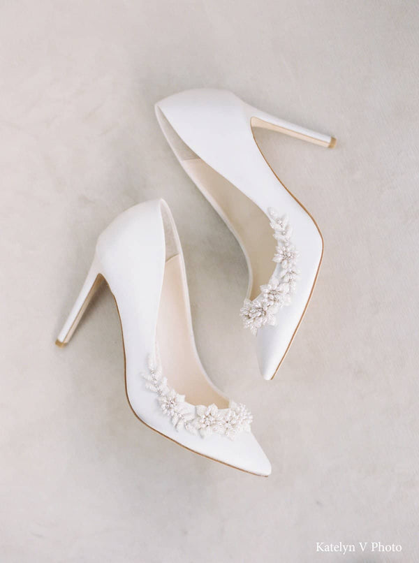3D Floral Pearl Wedding Shoes