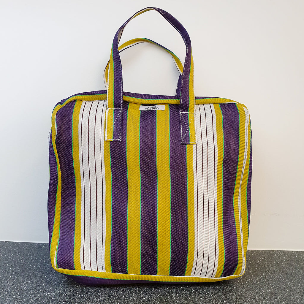 Yellow, Plum and Yellow Stripped Reuseable Market  Shopper