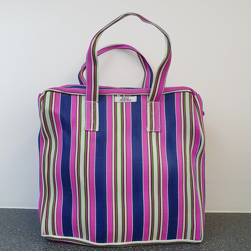 Purple, Navy and  Pink Stripped Reuseable Market  Shopper