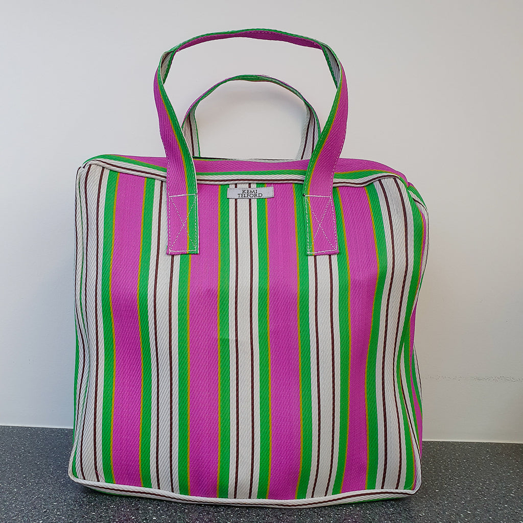 Pink and Lime Green Stripped Reuseable Market  Shopper