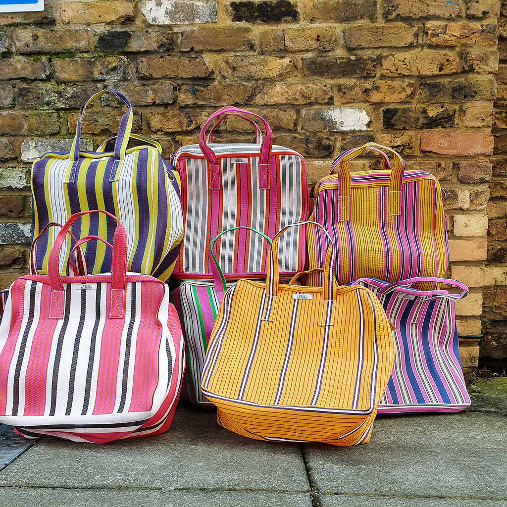 Chcolate and Purple Stripped Reuseable Market  Shopper