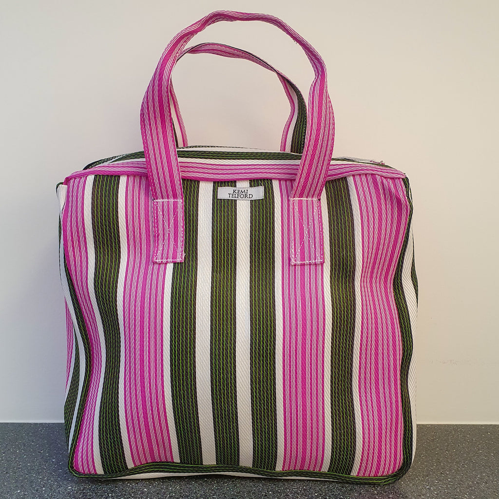 Pink Green Stripped Reuseable Market Shopper