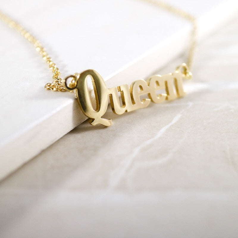 Stainless Steel Queen Script Pendant Necklace