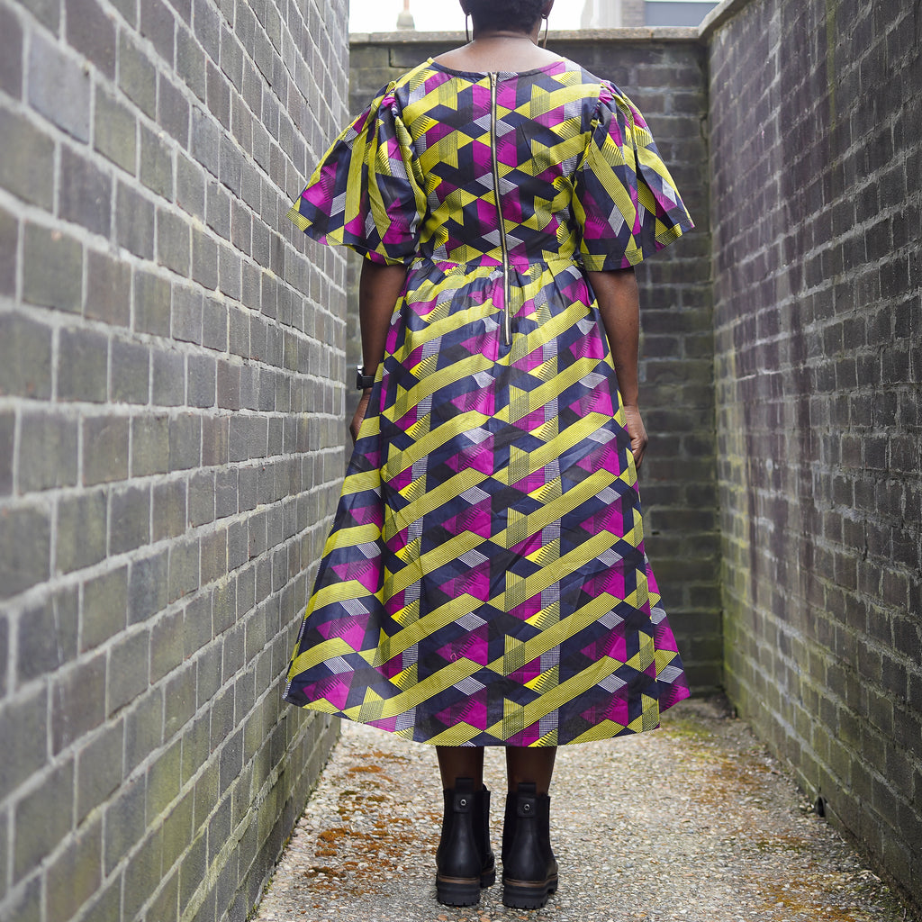 Oluwa Yellow Purple Criss-Cross Dress