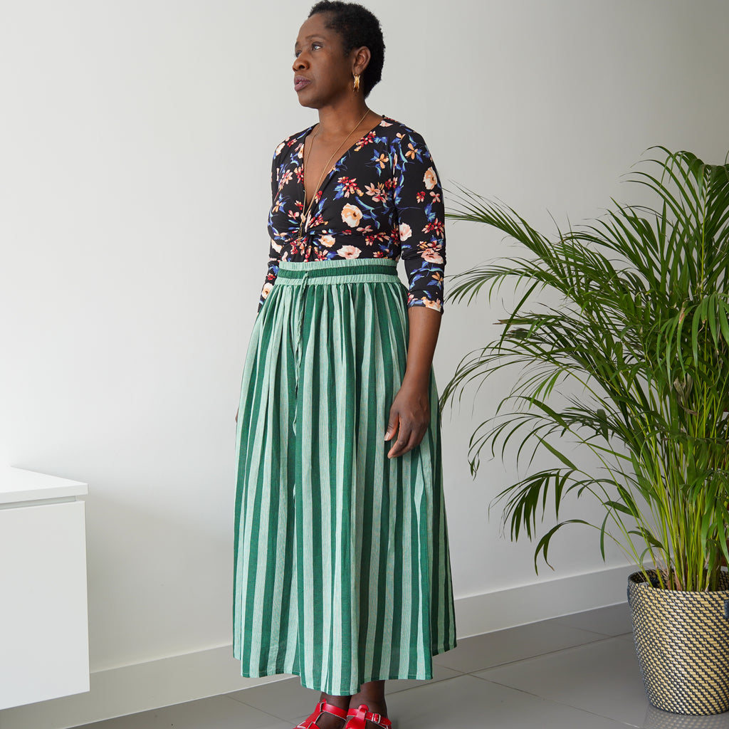 Mayowa Green Cotton Stripe Skirt