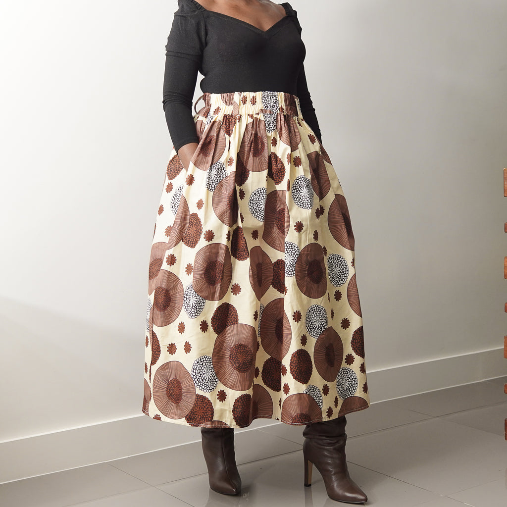 Lanre Brown Flowers Limited Edition Gathered Skirt