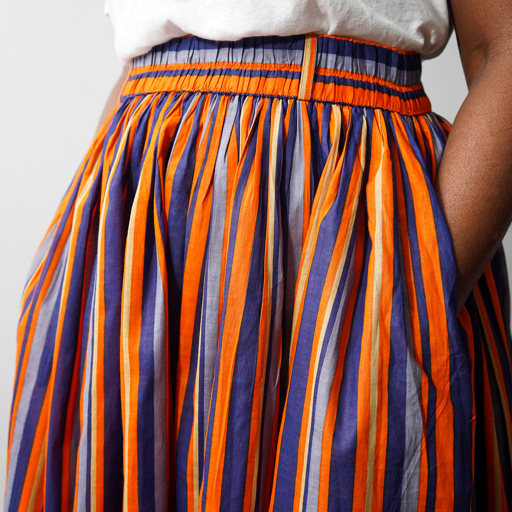 Orange Verti Gathered Skirt