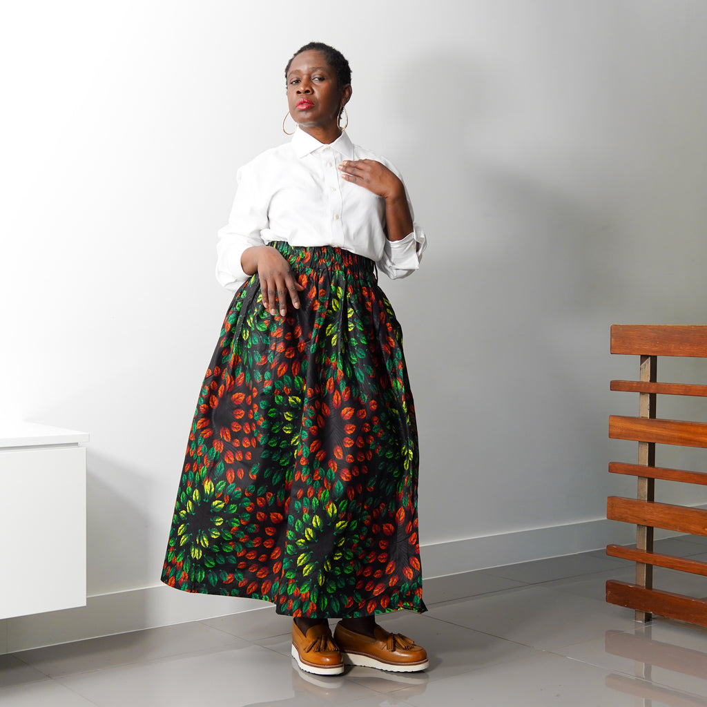 Lanre Orange Leaves Limited Edition Gathered Skirt