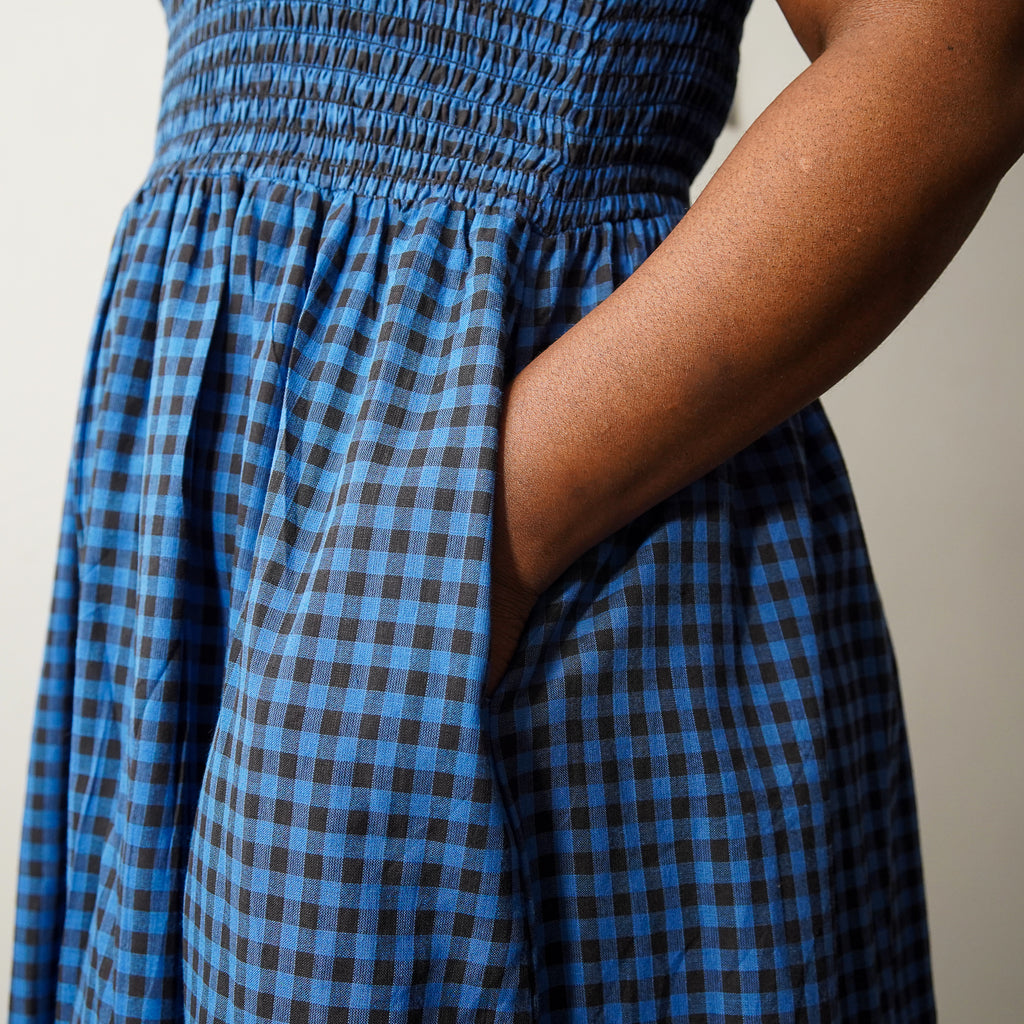 Blue Gingham Smocked Dress