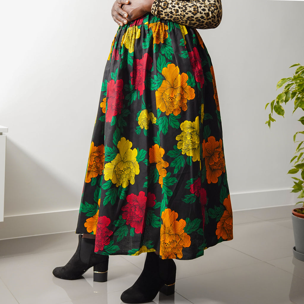 Lanre Multi Flowers Limited Edition Gathered Skirt
