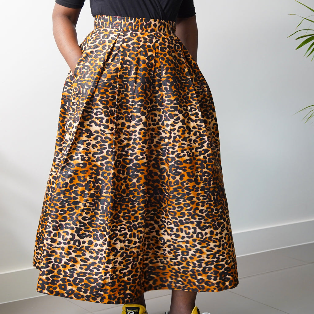 Structured Leopard Print Skirt