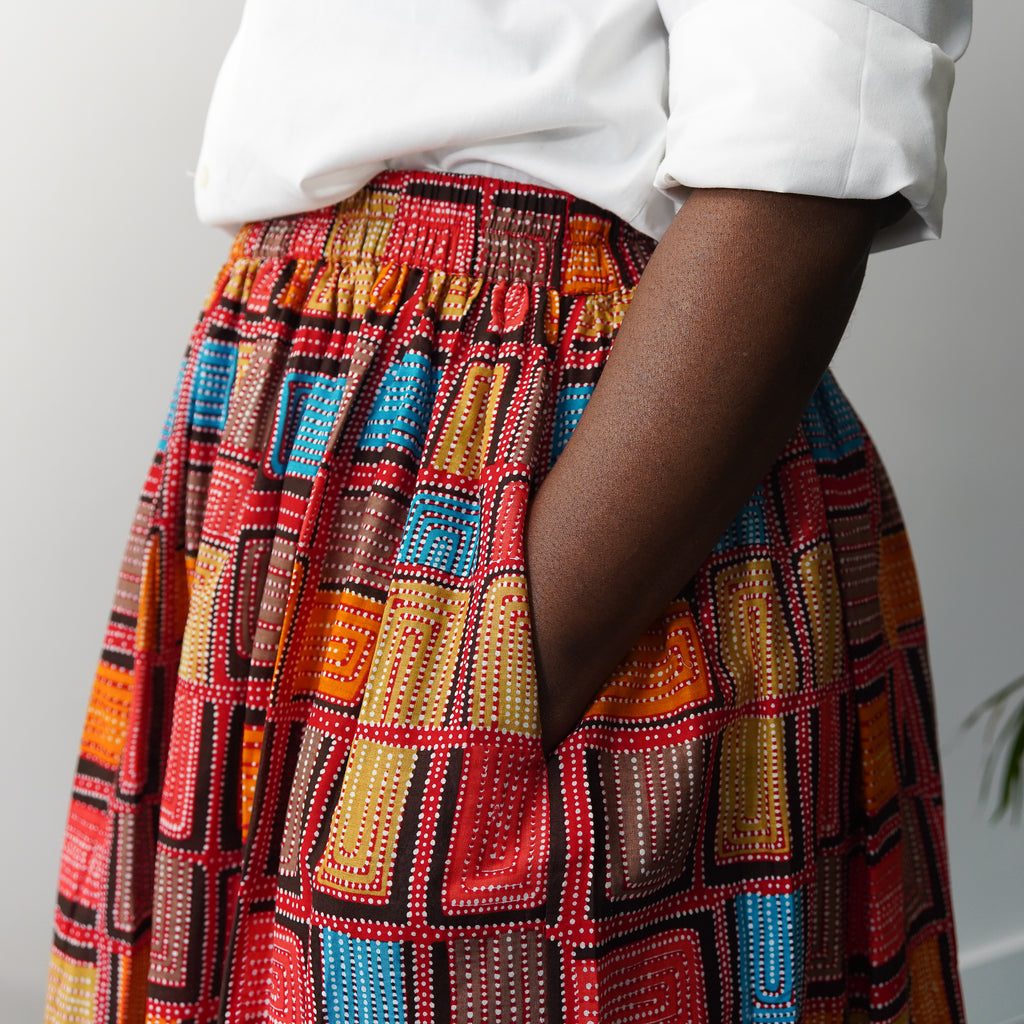 Olubunmi Red Block Skirt