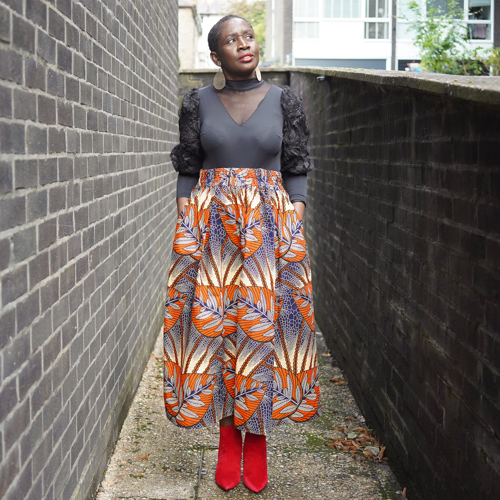 Lanre Orange Pearls Limited Edition Gathered Skirt