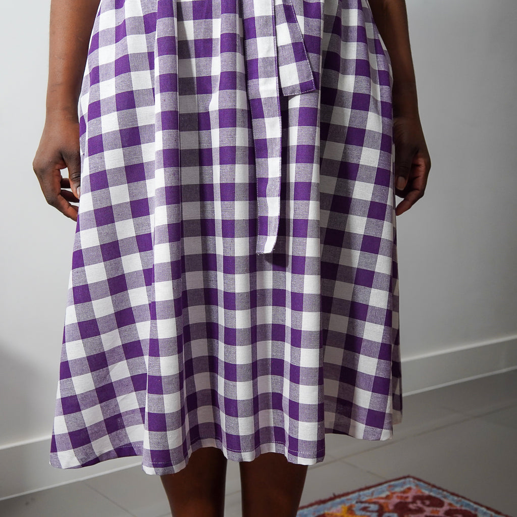 Ifedayo Purple Check Belted Dress