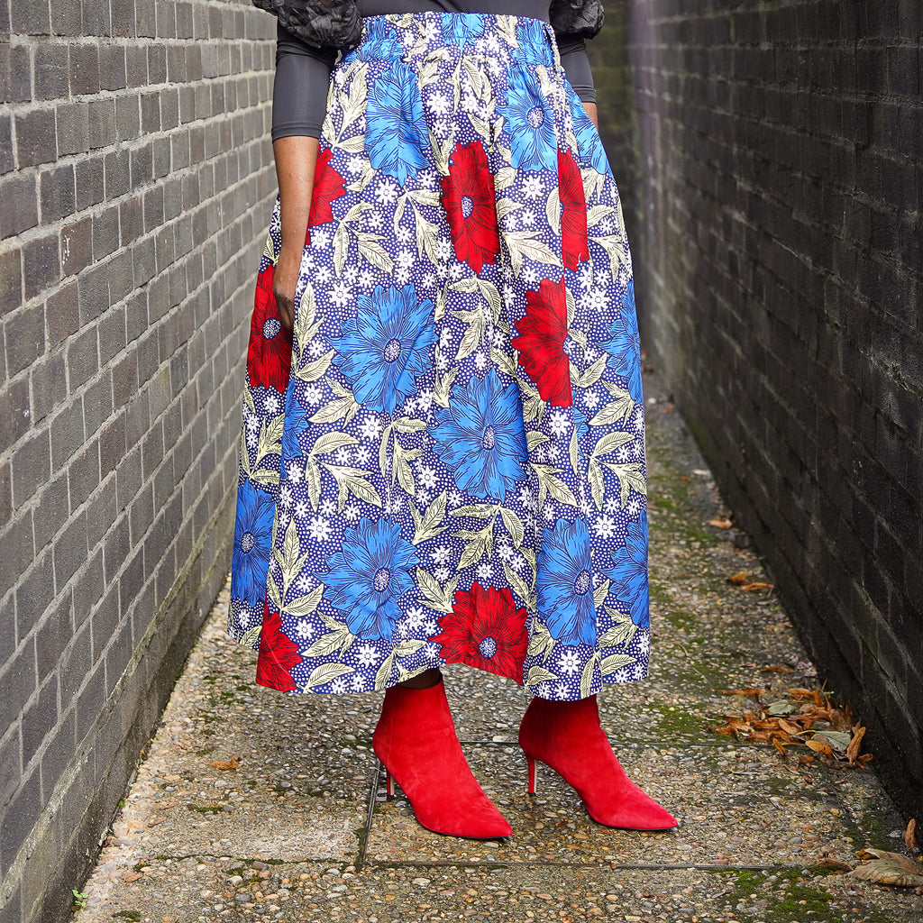 Lanre Blue Flowers Limited Edition Gathered Skirt