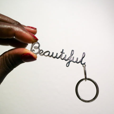 'Beautiful' Lettering Keyring