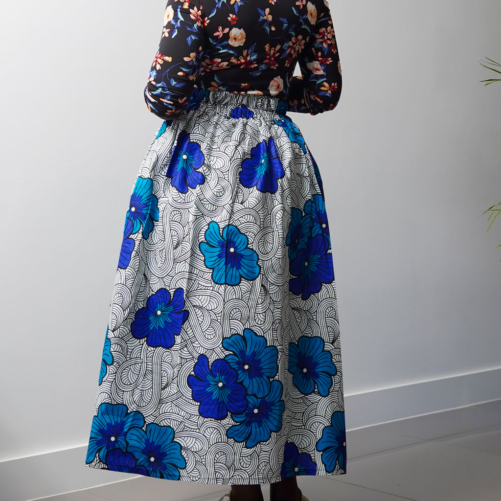 Lanre Blue Flower Limited Edition Gathered Skirt