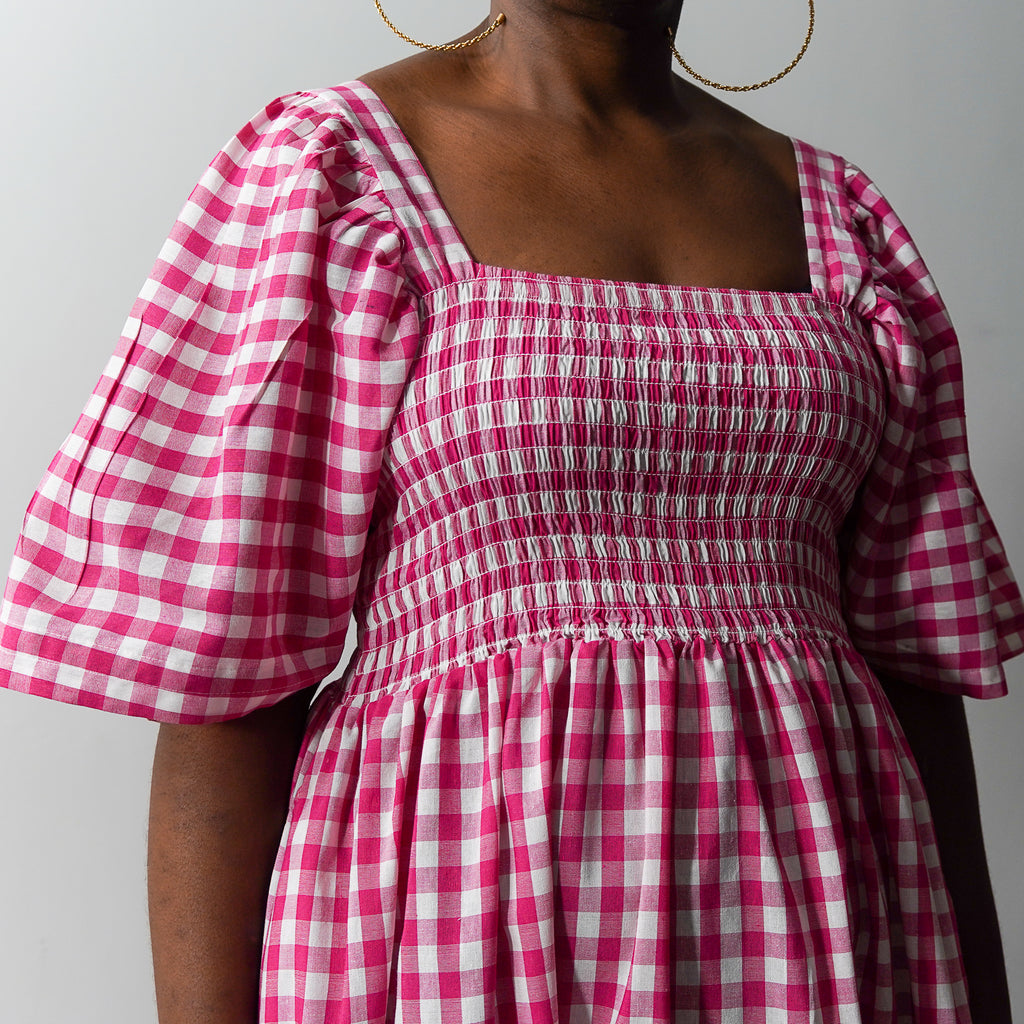 Pink Gingham Statement Dress
