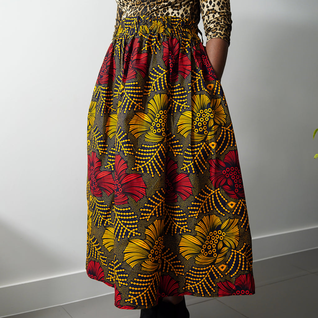Lanre Hibiscus Limited Edition Gathered Skirt