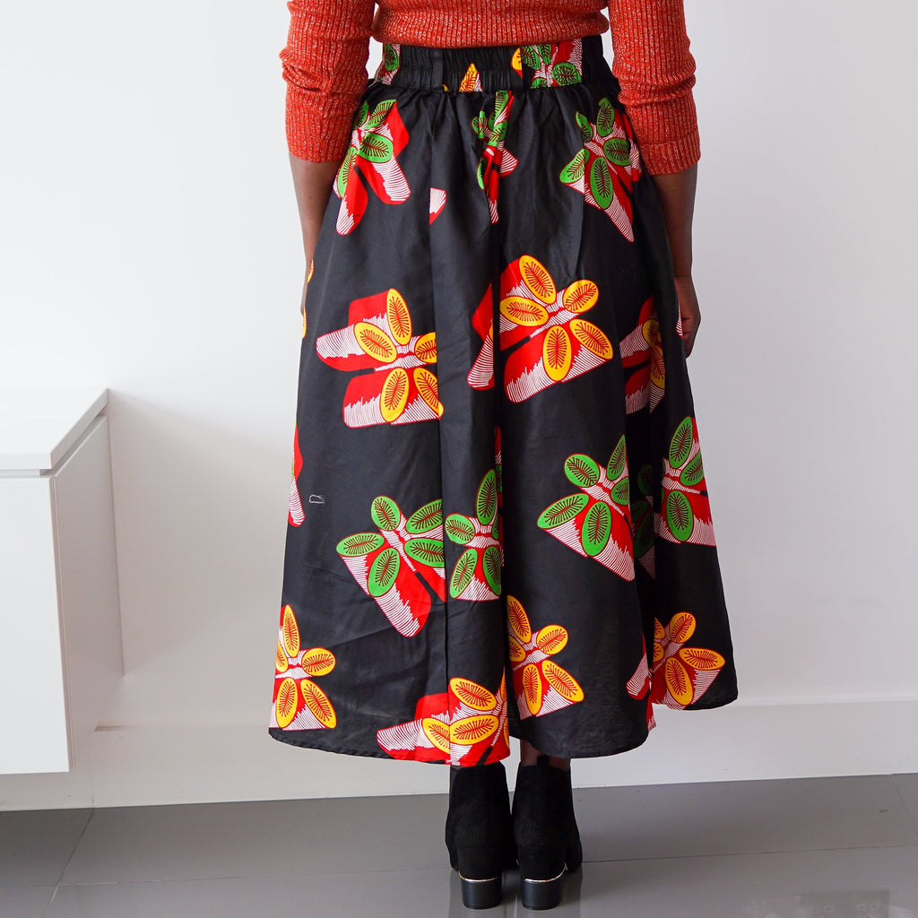 Black Multi Leaves Panel  Skirt