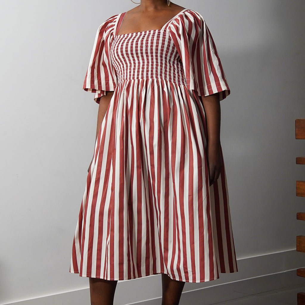 Stripe Smocked Statement Dress