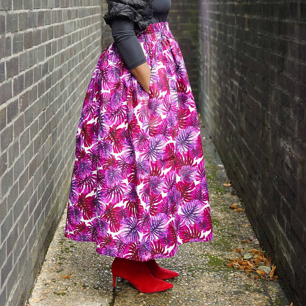 Lanre Purple Leaves Limited Edition Gathered Skirt