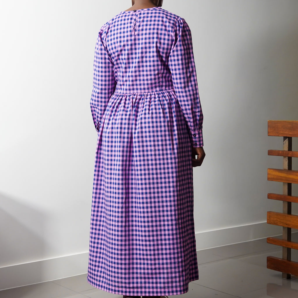 Pink Blue Longsleeve Check Dress