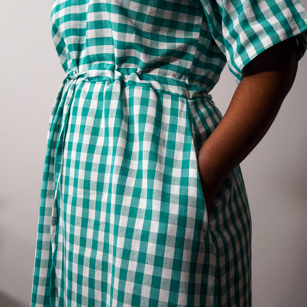 Simisola Green Drawstring Dress