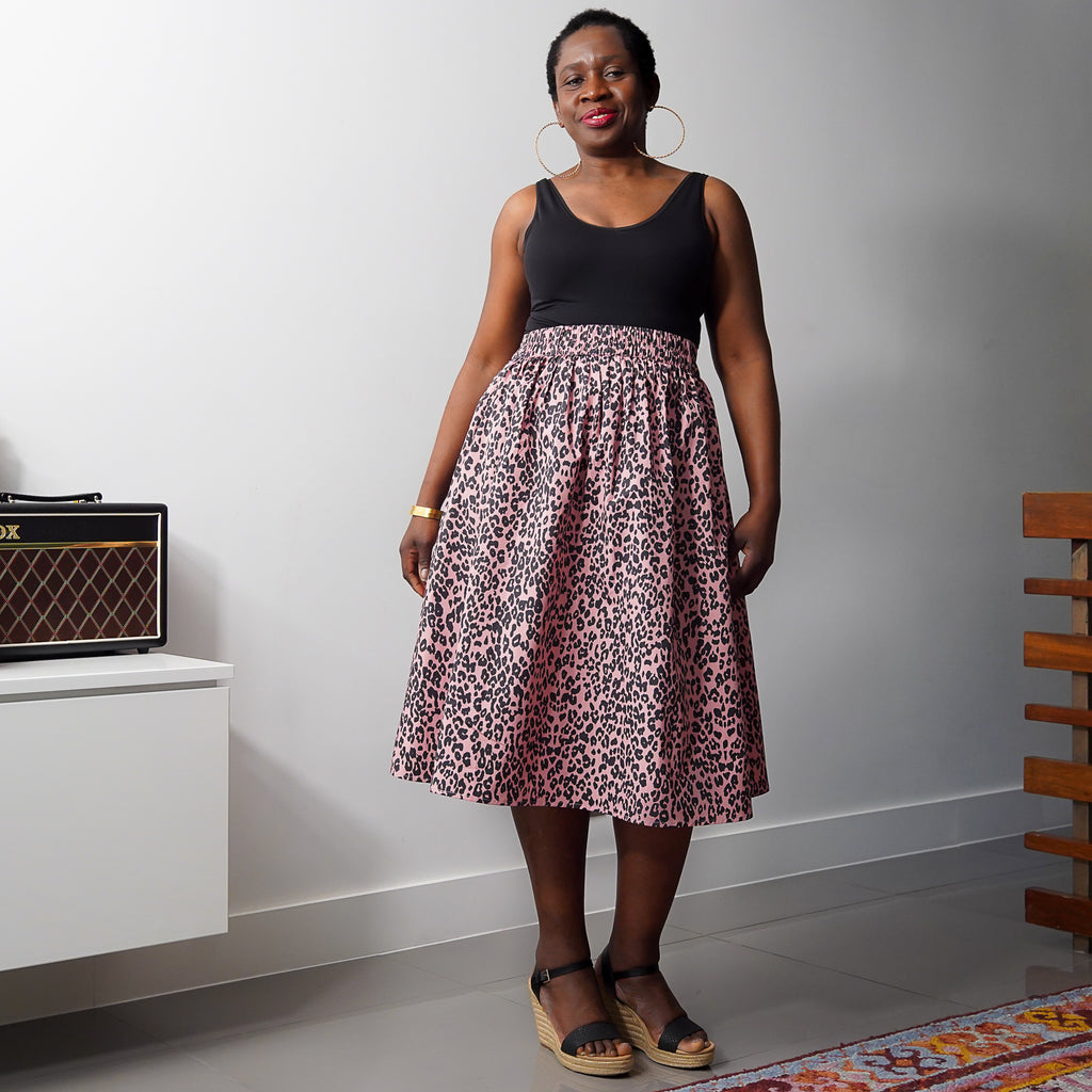 Abiola Leopard 2 Panel Midi Skirt
