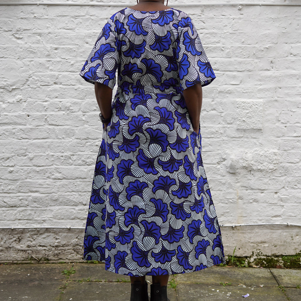 Simisola Blue Gingko Drawstring Dress
