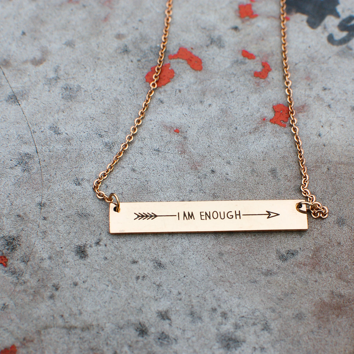 I AM ENOUGH Shiny Horizontal Bar Necklace (Light Rose Gold)