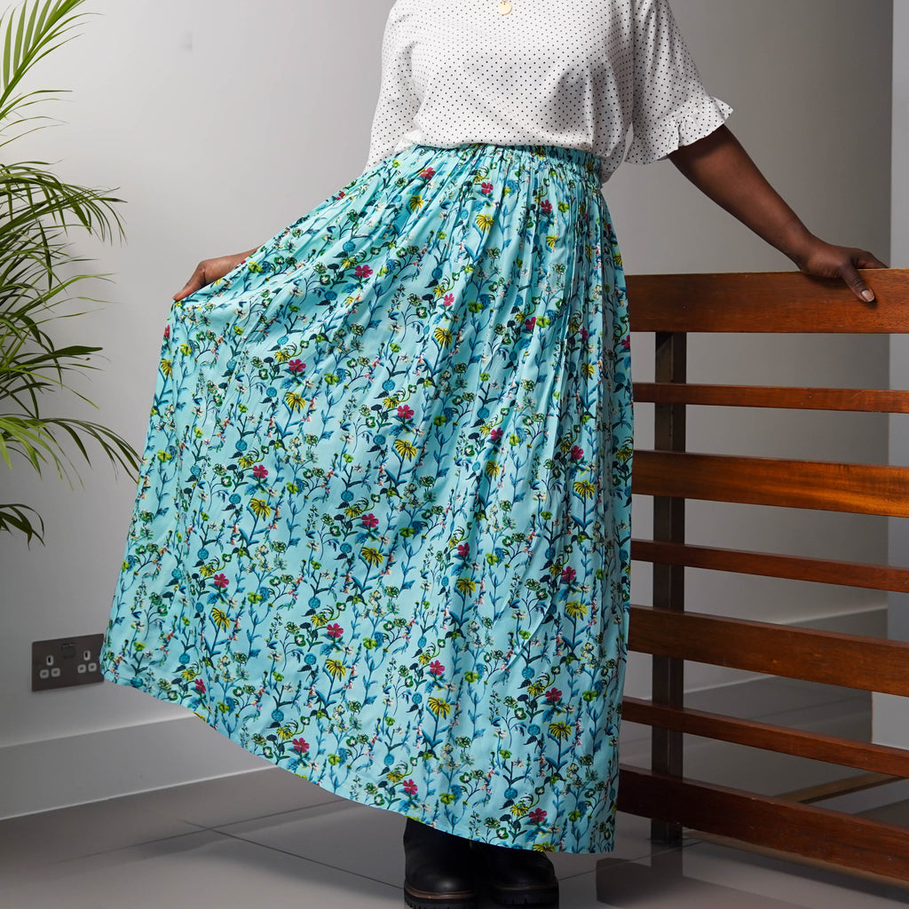 Green Garden Gathered Skirt (Second)