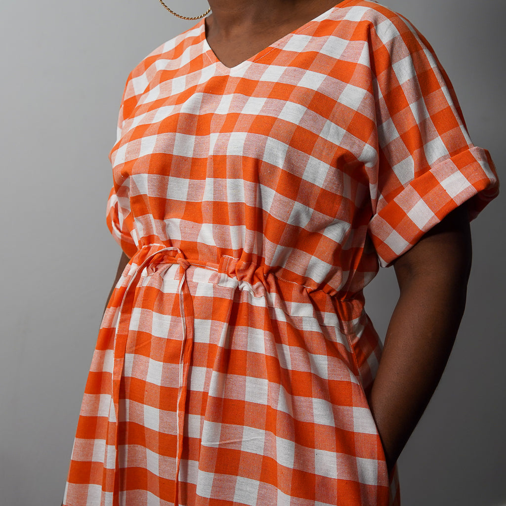 Simisola Orange Drawstring Dress