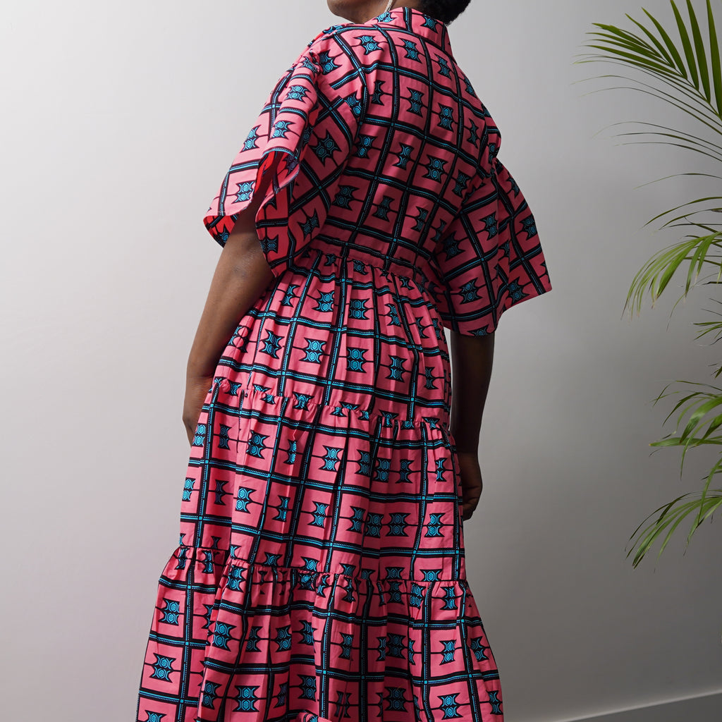 Ayaba Drawstring Tiered Dress (SECONDS)