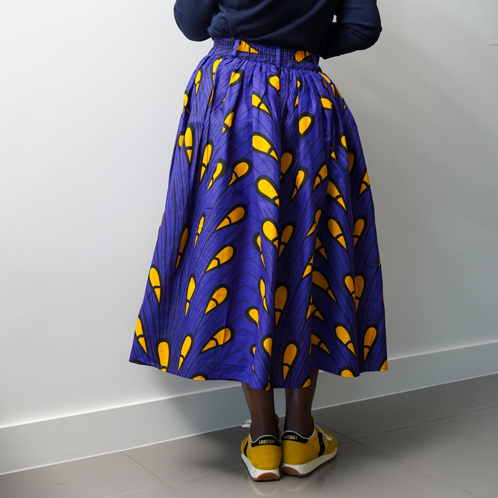 Folashade Purple Peacock  Gathered Skirt