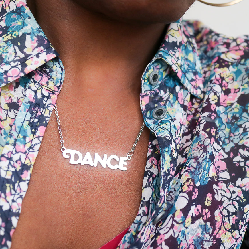 'Dance' Stainless Steel Script Necklace