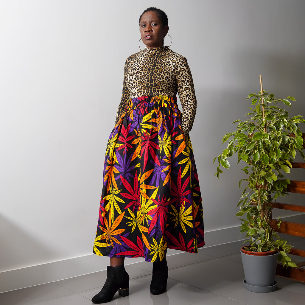 Lanre Multi Leaves Limited Edition Gathered Skirt
