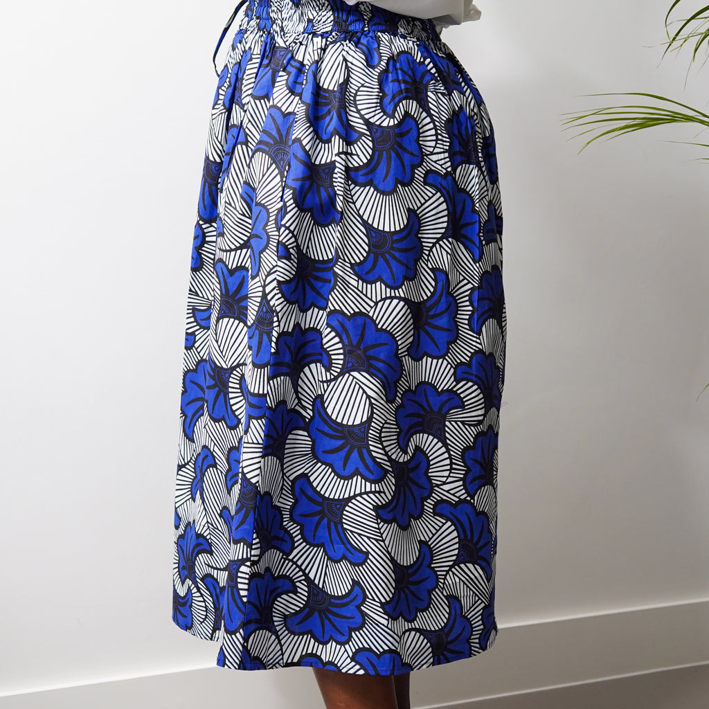 Simisola Blue Gingko Drawstring Skirt