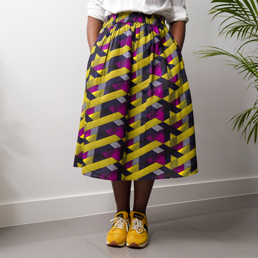 Oluwa Yellow Purple Criss-Cross Skirt