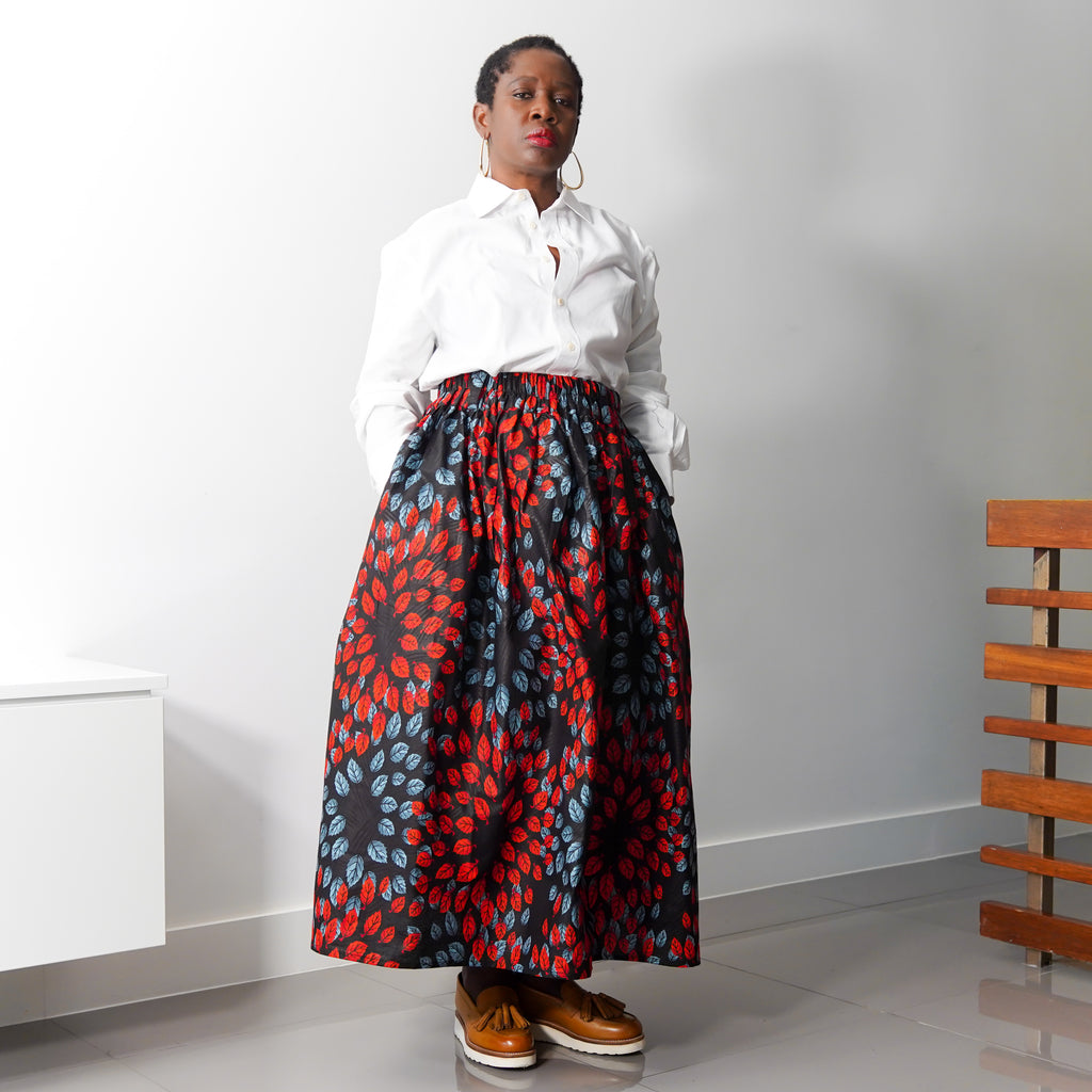 Lanre Red Leaves Limited Edition Gathered Skirt