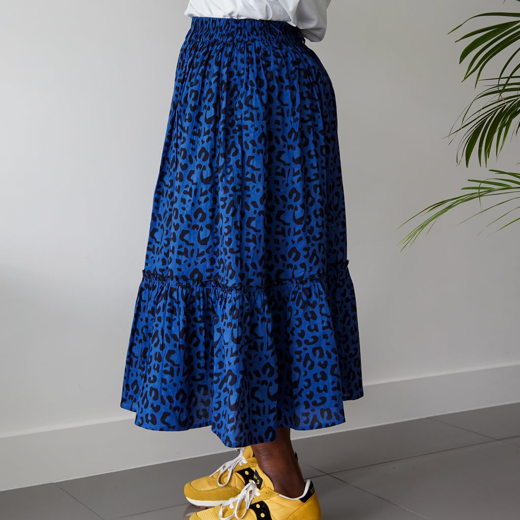 Olabisi Blue Leopard Gathered One-Tier Skirt.
