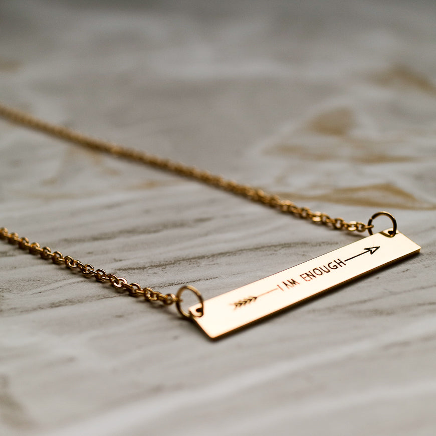 I AM ENOUGH Gold Shiny Horizontal Bar Necklace