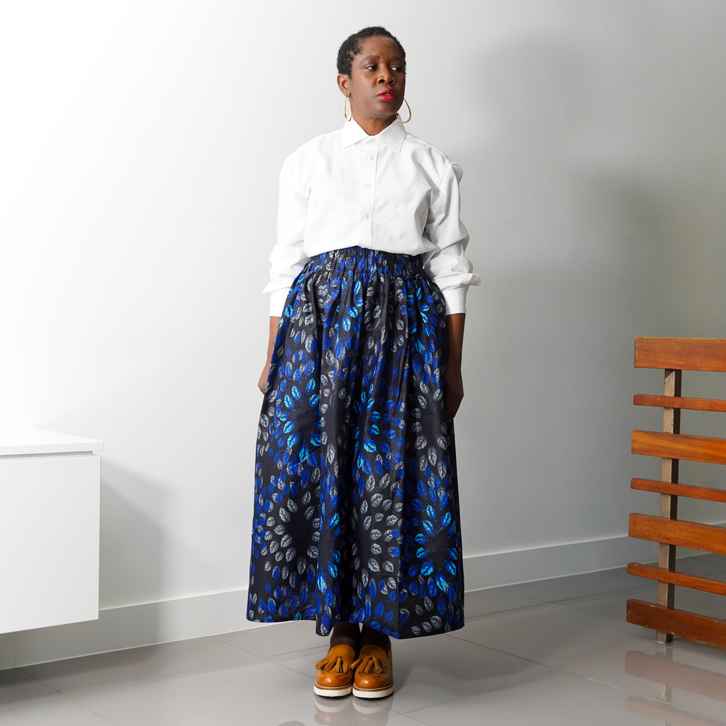 Lanre Blue  Leaves Limited Edition Gathered Skirt