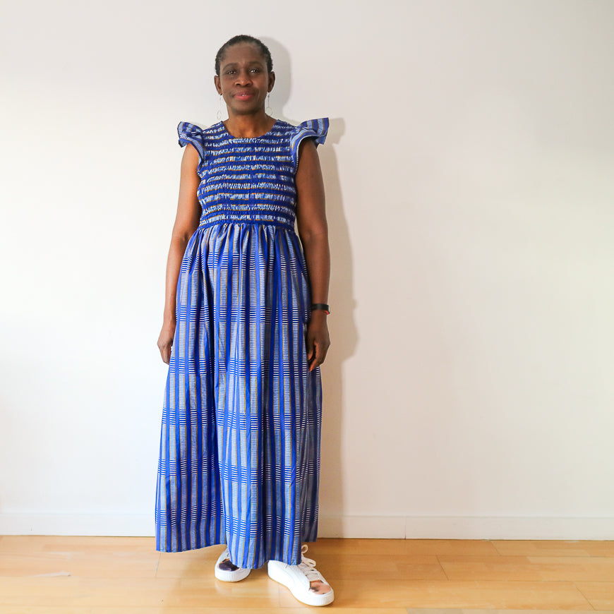 Royal Blue Striped Smocked Dress