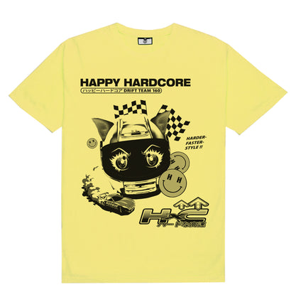 HAPPY HARDCORE DRIFT TEAM TEE [VINTAGE YELLOW] - Boogiemade